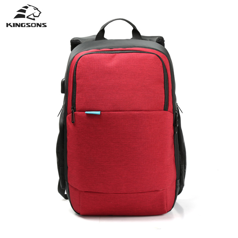 Kingsons Brand External USB Charge Travel Backpack Anti theft Computer Bag 15 6 inch Solid Men