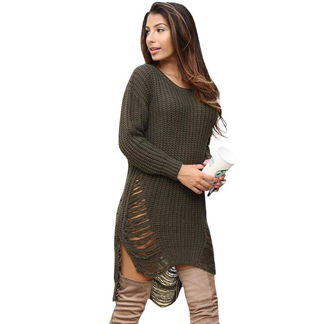a7714301ee Women Sweater Dress Autumn And Winter Casual Hollow Round Neck Sexy Long  Sleeve Sweater Dress LJ5540E