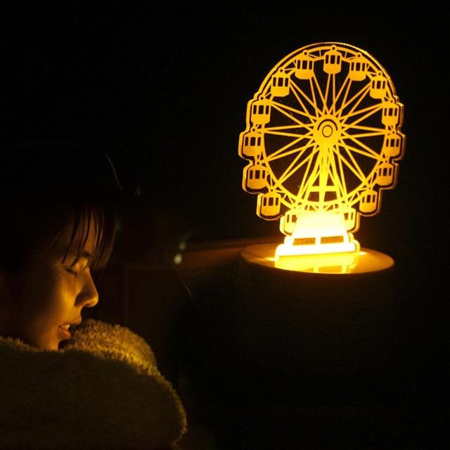 Mini Ferris Wheel Yellow Led Night Light Plug In Induction Desk Table Lamp Portable Baby Bedroom