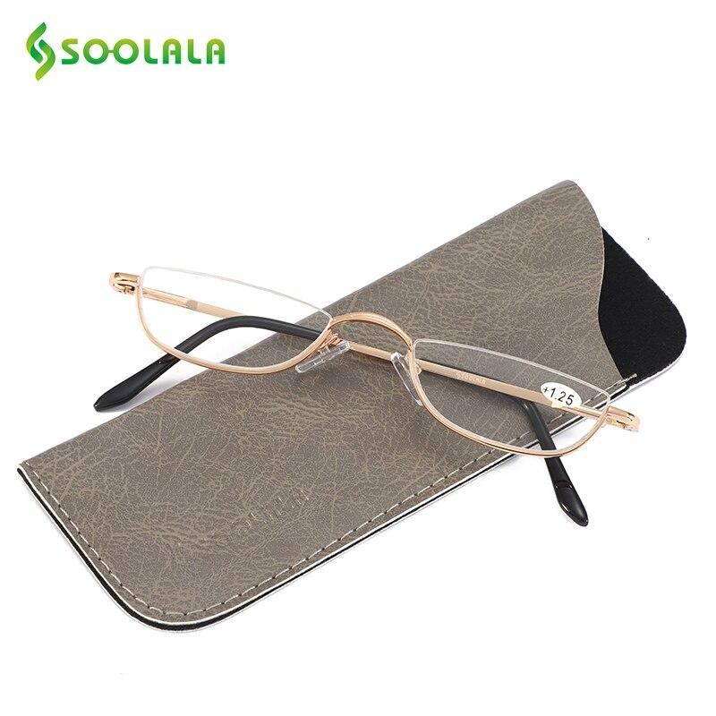 SOOLALA Slim Óculos de Leitura Das Mulheres Dos Homens Semi-Sem Aro Liga Flat Top Half Frame Óculos w/Caixa De Couro + 1.0 1.5 1.75 a 4.0