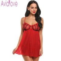 Avidlove Sexy Nightdress Women Patchwork Hollow Up Lingerie Brand Spaghetti Strap Back Slit Babydoll Chemise With