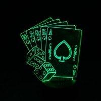 אשליה אופטית מנורת לילה אור ילדים 3D משחק פוקר כרטיס קוביות 7 שינוי הצבע הוביל אורות חידוש מתנות לחברים חג