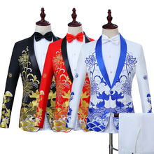 цены на Host Costume Prom Floral Jacket Men Embroidery One Button Slim Blazers Pants 2pc Suits Set C8  в интернет-магазинах