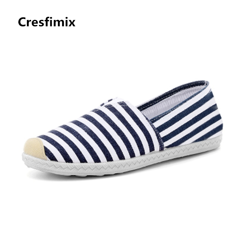 Cresfimix women fashion blue striped summer slip on canvas flat shoes lady cute spring flats female cloth dance shoes zapatos cresfimix women fashion