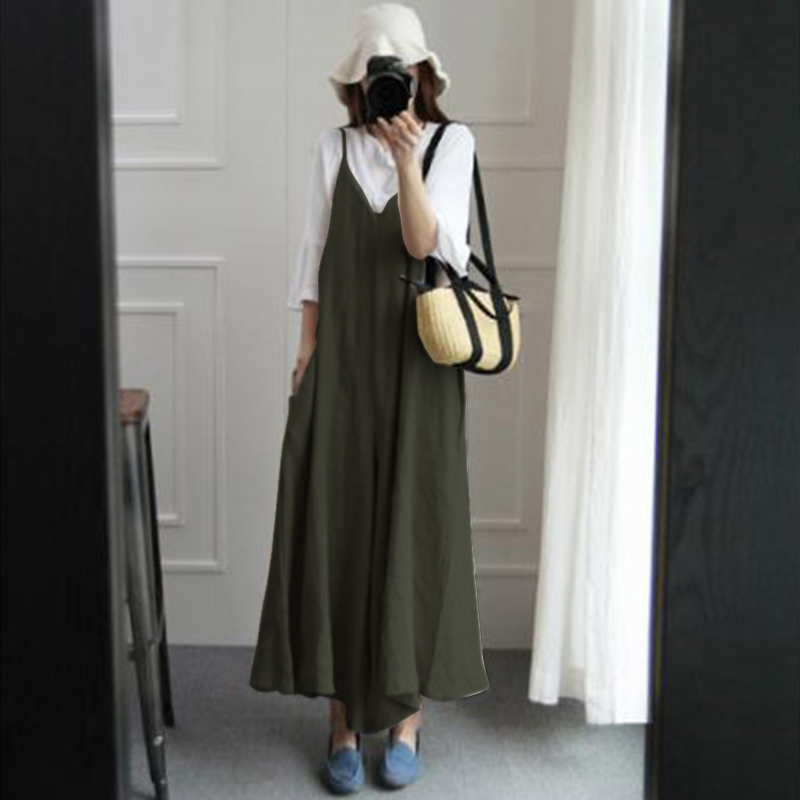 2018 Summer ZANZEA Women Jumpsuits Casual V Neck Strappy Rompers Loose Cotton Linen Dungarees Bib Overalls Wide Leg Pants S-5XL