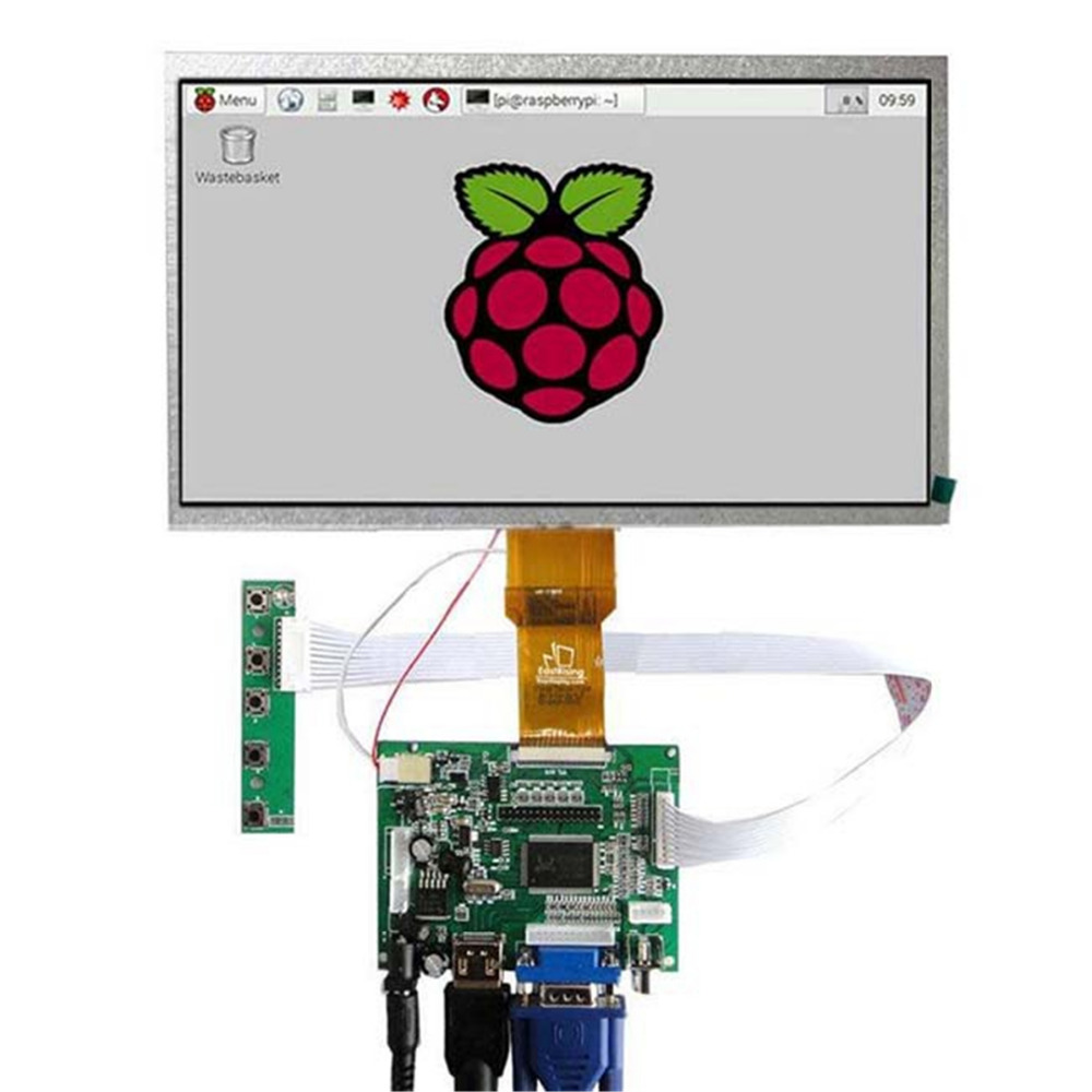 10.1 Inch LCD Panel Display Screen HDMI+VGA+2AV Driver Board Controller Set Kit For Raspberry Pi цена
