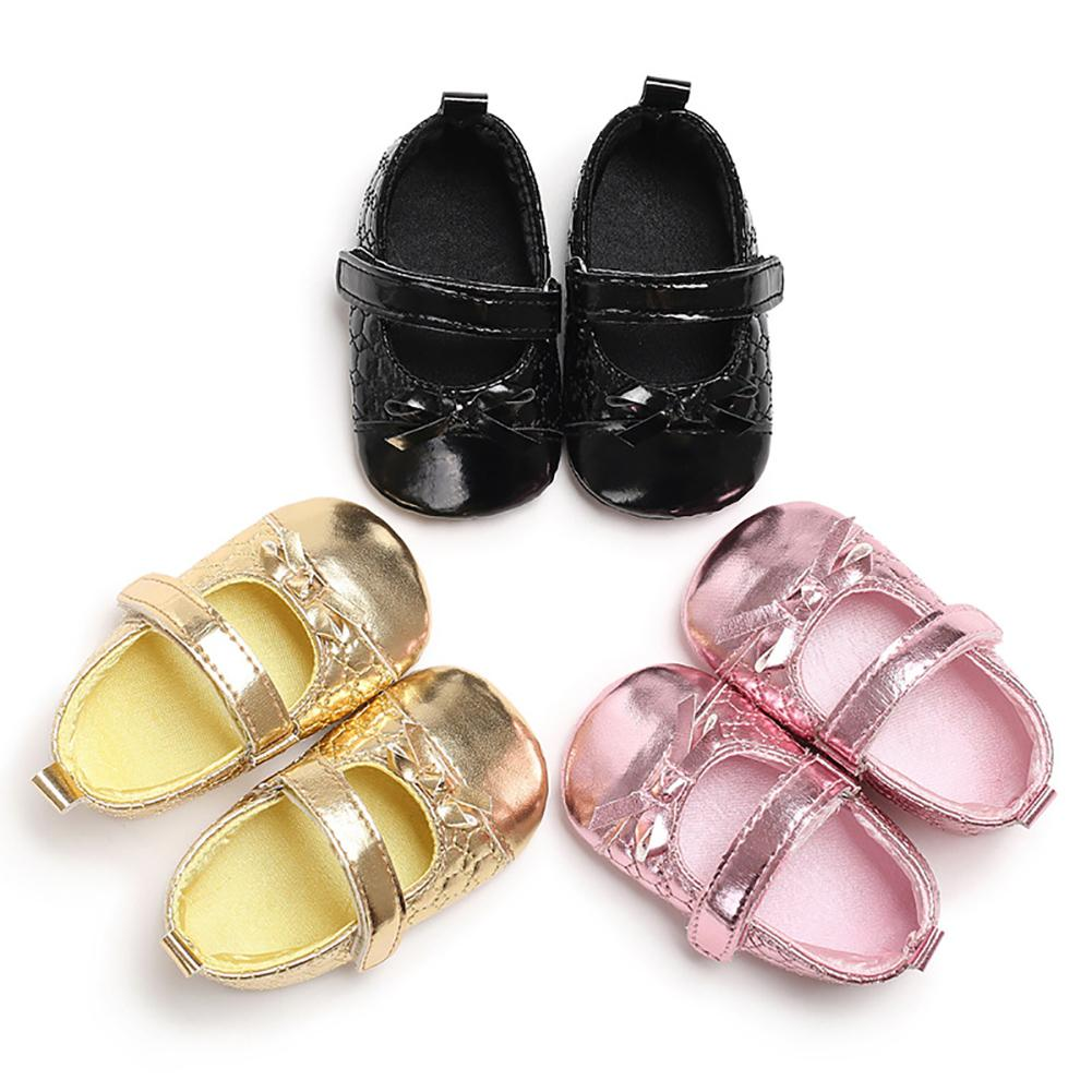 Faux Leather Infant Baby Girls Bowknot Soft Anti-slip Prewalker Toddler Shoes