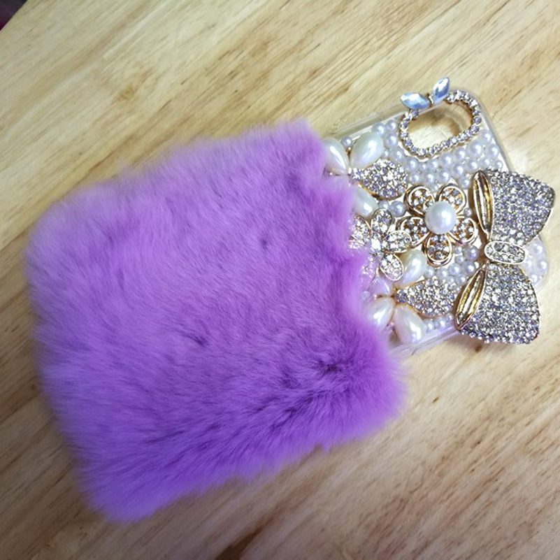 Fur Case For iphone X Jewelry Rabbit Hair Cover For iphone 8 plus 8 7 plus 6s 6 5s 5c se 4 4s Crystal Bling Bowknot Pearl Coque