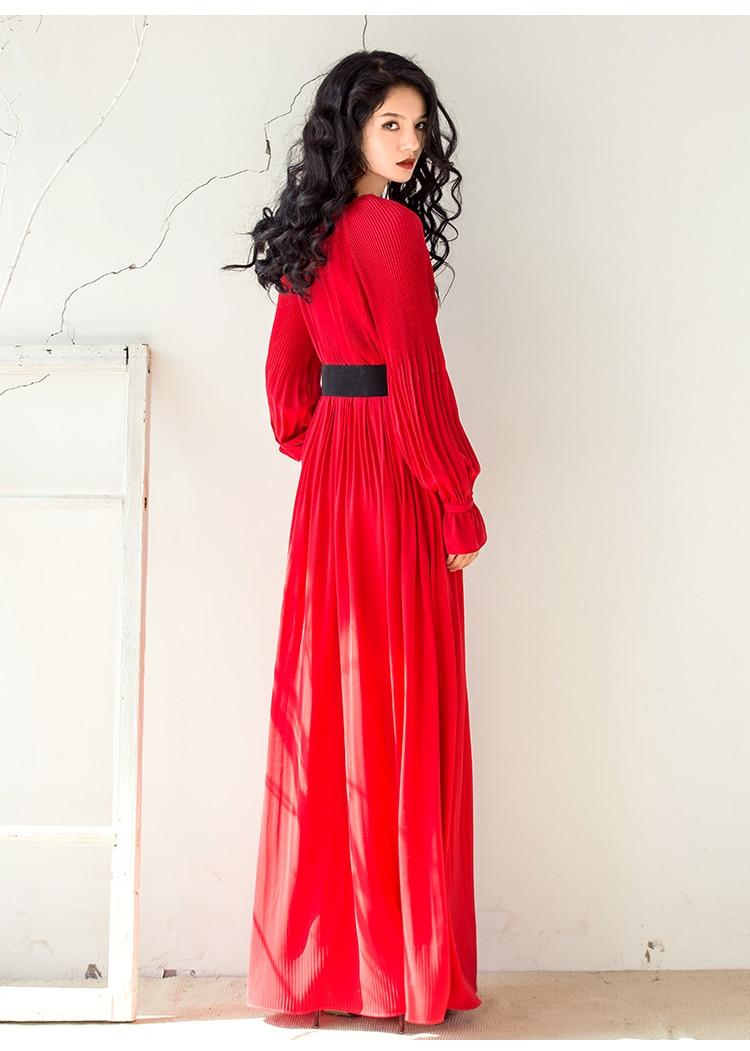 Organe Cou Manches O Nouvelle Mode De Robe 2 Longueur Foor 2018 Longues Hiver 1 Drapé Dame Automne Parti Solide Couleur Longue Femmes Vadrouille 4IqWWFwAP