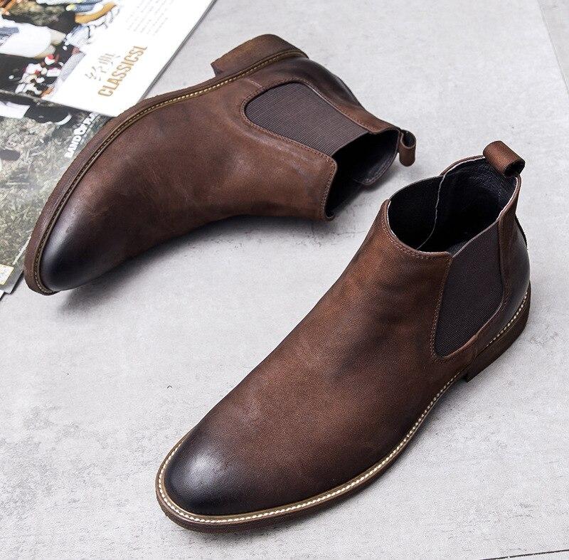 Nieuwe Chelsea nubuck leer mannen laarzen retro enkellaarsjes retro Engeland trend mens business jurk werk laarzen bruiloft schoenen mannen - 3