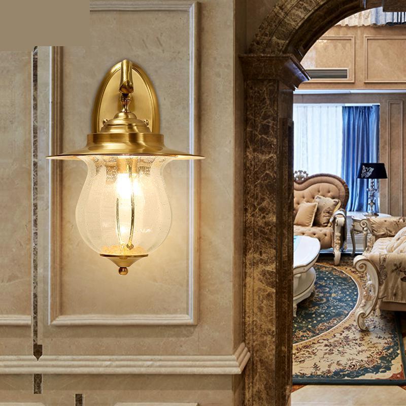 European Style Outdoor Wall Light Corridor Lamp Desk Lamp Waterproof And Rustproof Villa modern copper led wall lights