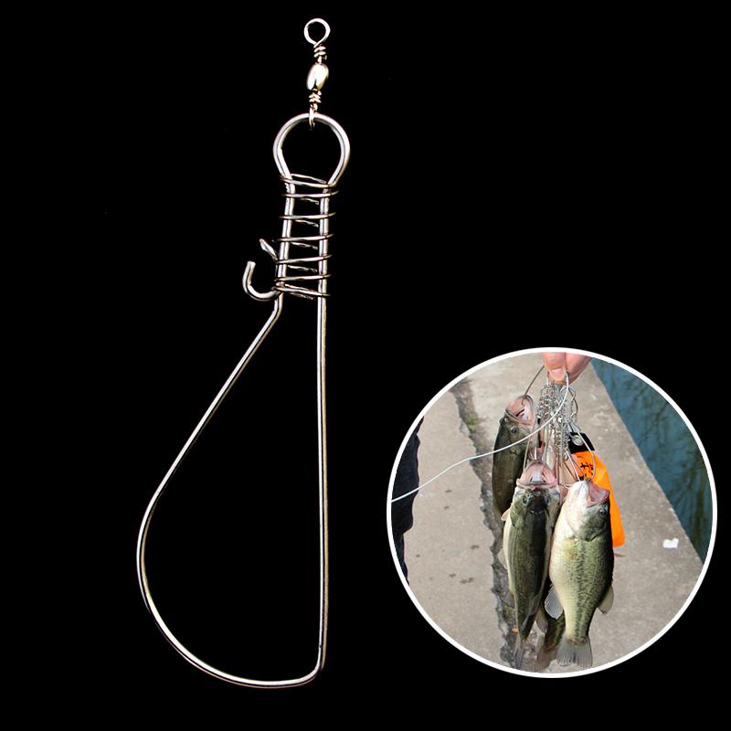 Stainless Steel Live Fish Lock 1 Piece Portable Full Metal Big Fish Use Clasp Snap Fish Buckle Fishing Tools