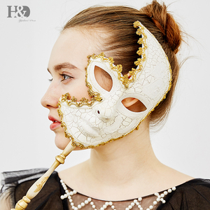 Image 5 - H&D 6 Kinds Venetian Mask On Stick Mardi Gras Mask for Women/Men Masquerade Party Prom Ball Halloween Party Cosplay Favors