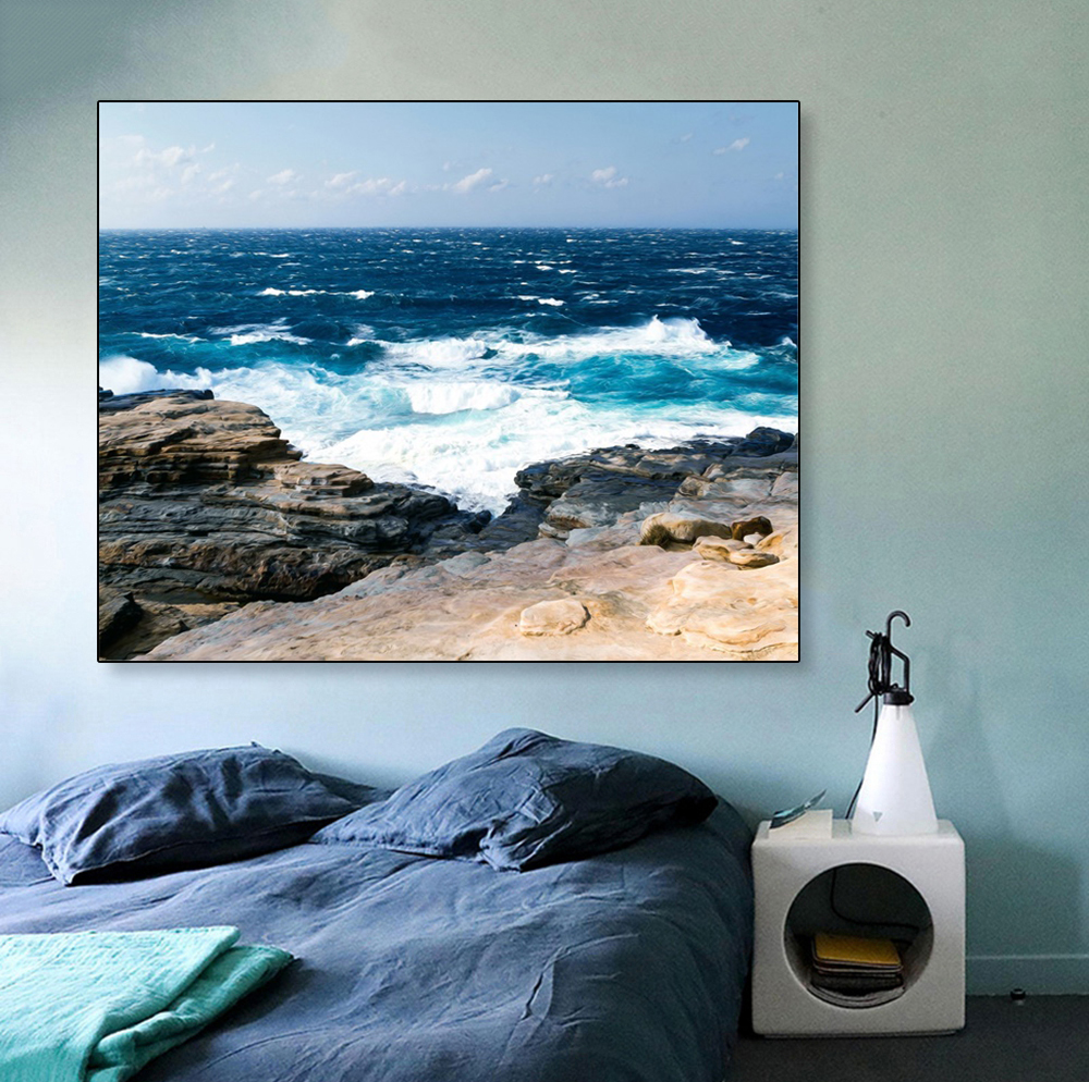 Laeacco Canvas Painting Calligraphy Beach Wave Sea Landscape Posters and Prints Wall Pictures for Living Room Home Decoration in Painting Calligraphy from Home Garden