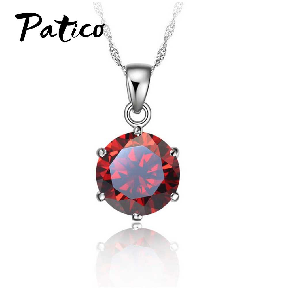 PATICO Cheapest!!!S90 Silver Color Necklace Women Wedding Jewelry 6 Claw Cubic Zircon  Pendant Engagement