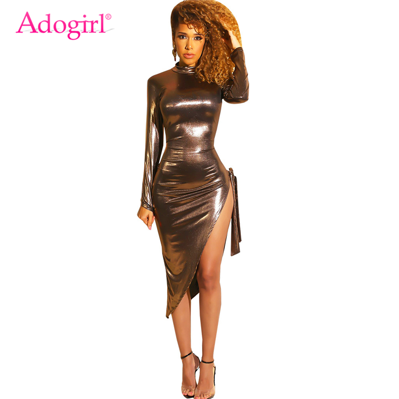 Detail Feedback Questions about Adogirl Gold PU Leather Bodycon Club Dress  Turtleneck Long Sleeve Side Tie Slit Asymmetrical Midi Party Dresses Women  ... 5696766c7ee1