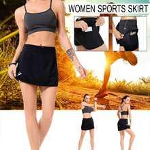 Дышащего полиэстера теннисная юбка-шорты Женская юбка мини-юбка с карманом для телефона кабельного отверстия для бадминтон, бег Фитнес