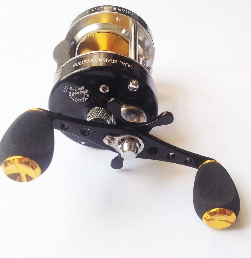 цена MC500 6BB Baitcasting Right hand Fishing Reel ball Bearings Dual Brake System 5.3:1 Gear Ratio Dual Breaking System Drum Wheel