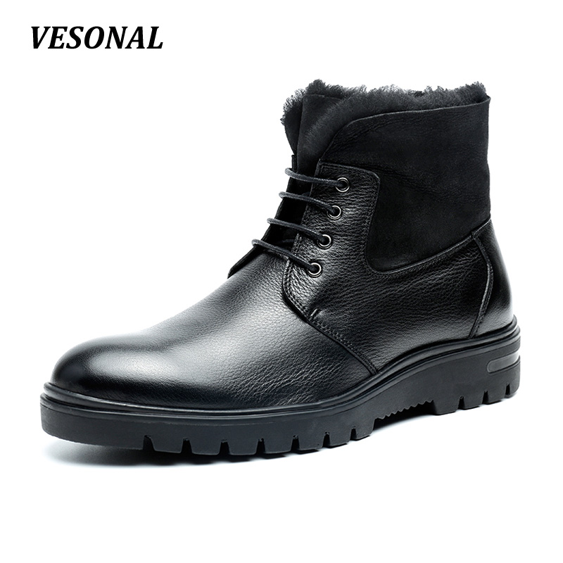 VESONAL New Autumn Winter 100% Genuine Leather Cow Sheepskin Wool-One Patchwork Snow Boots Men Shoes Warm Fur Mens Ankle Boot