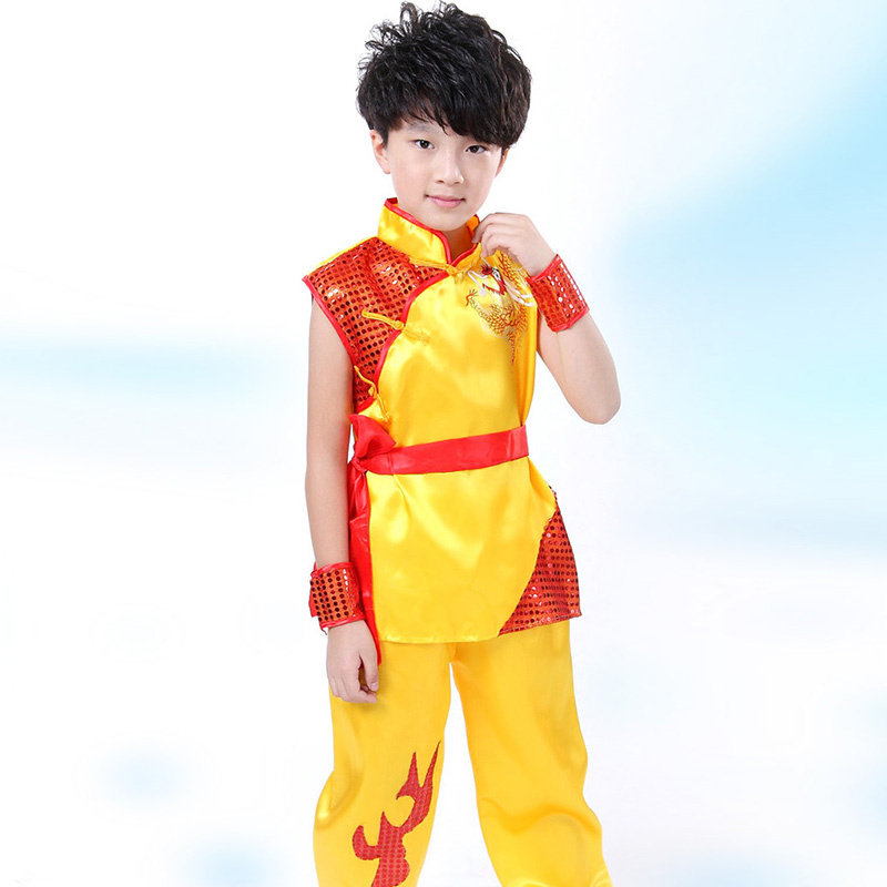 Children Boy Stage Performance Costume Traditional Chinese Clothing for Kids Kung fu Martial Arts Clothing Sets