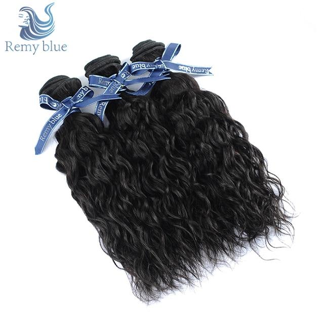 Remy Blue Raw Indian Hair Water Wave Bundles Natural Black Human