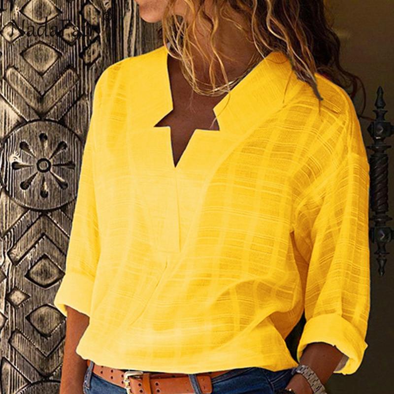 Nadafair Cotton Yellow Loose Blouse Women Long Sleeve Autumn Shirts Ladies Strea