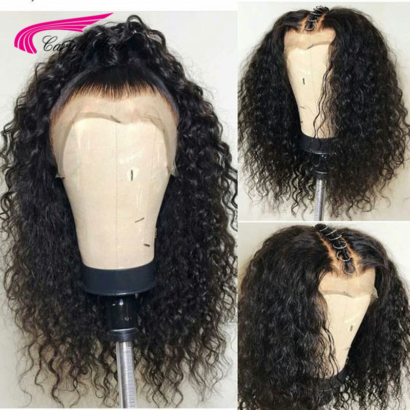 Carina Brazilian Remy Long Natural Black Deep Jerry Curly Half Human Hair Wigs Deep Part 13x6