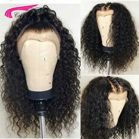 Carina Brazilian Remy Long Natural Black Deep Jerry Curly Half Human Hair Wigs Deep Part 13x6 Lace Front Wig For Black Women