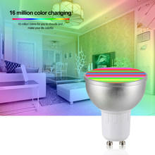 LED Bulb 16 Million Colors GU10 Base LED Lamp AC85-265V 6W 4PCS RGBW WIFI Connected Intelligent Light Bulbs KTV Home Party Deco(China)