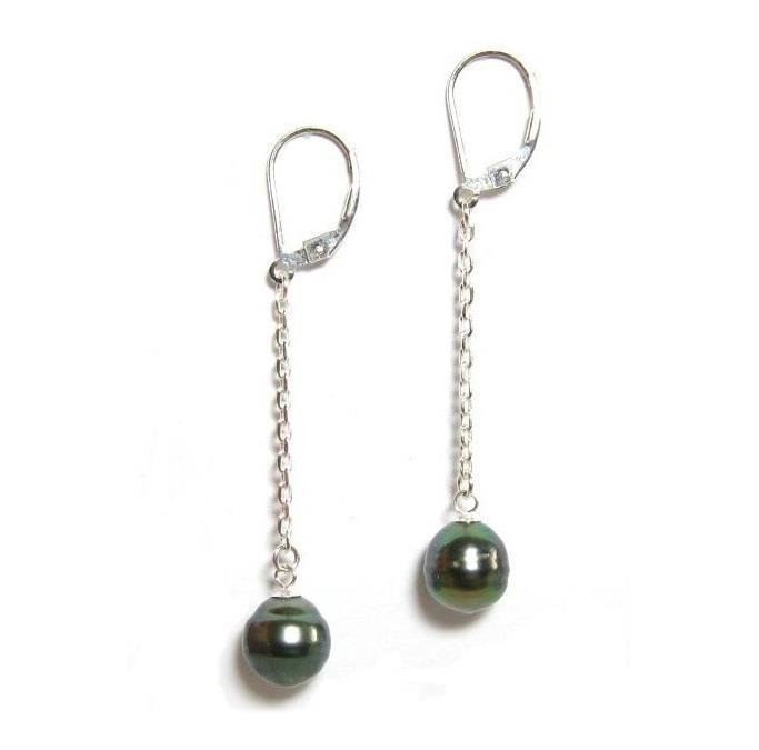 9-10MM Tahitian peacock green Dangle Earrings 925silver