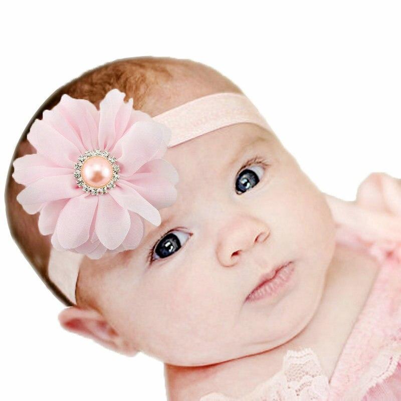 1 Piece MAYA STEPAN Baby Headband Chiffon Princess Toddler Ribbon Pearl Crystal Hair Girl Newborn Bow Flower Turban Floral Tiara