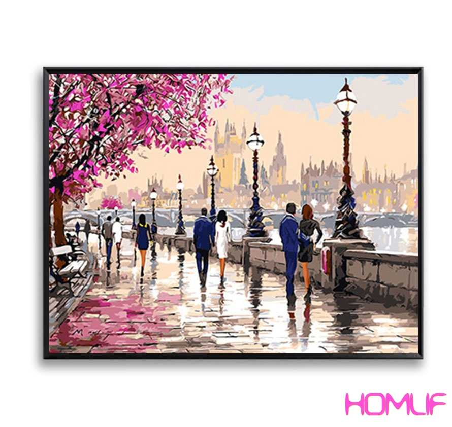 diamond painting stitch cross Pink Romantic Park London Thames DIY diamond embroidery sale diamond mosaic rhinestones pictures