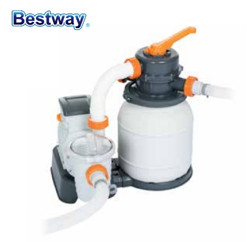 58495 Bestway 1000 Gal Sand Filter For 1100-27200L Pool Wz Durable Tank 6-Position Valve Top Flange Clamp Anti Leaves & Debris