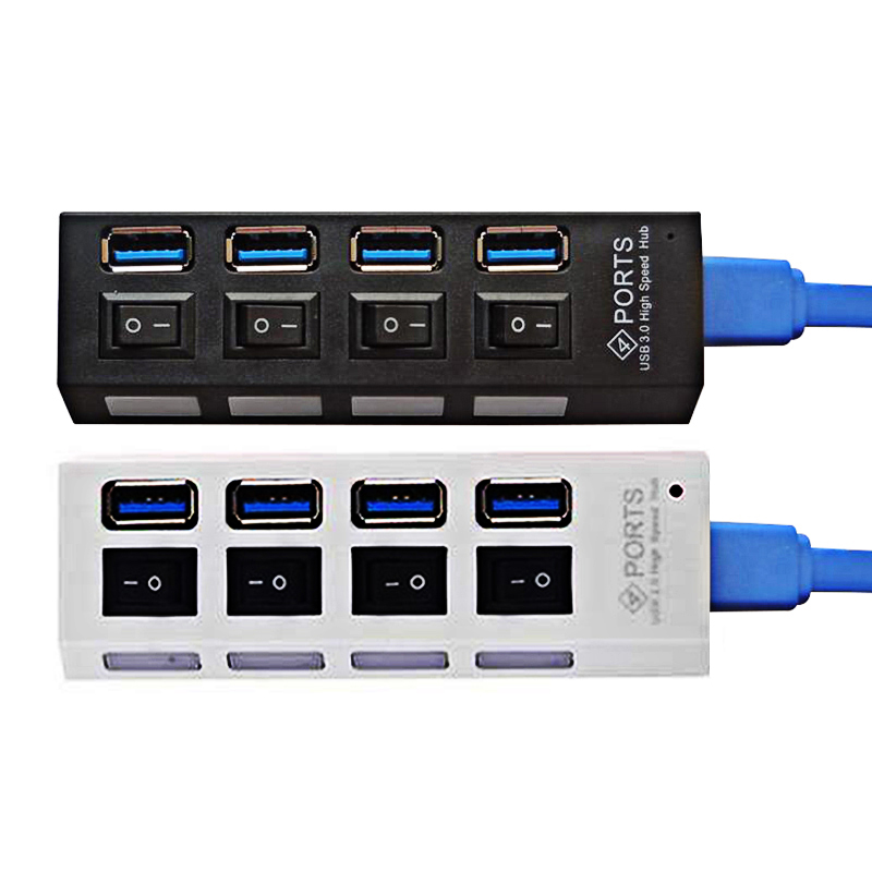 JRGK origin 4 Ports USB 3.0 high speed Hub Charging Station 5V 2A 1A Fast Adapter With on/off Switch For Windows Mac OS Linux