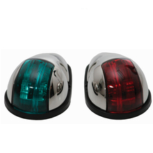 12 ボルト赤、緑マリンボートライト 10 ワットナビゲーション光ステンレス鋼ハウジングランプ