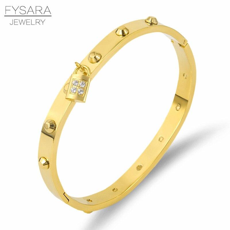 FYSARA lujo clásico marca clavo remache brazaletes y pulseras para las mujeres Acero inoxidable cristales Pulseiras Punk joyería