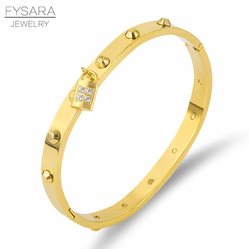 FYSARA marca Punk Rock hombres joyería oro Color clavo remache pulsera brazalete para las mujeres joyería cristales brazalete clave encanto