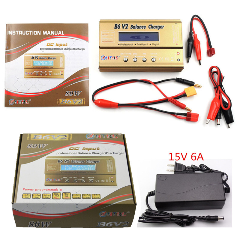 BUILD POWER HTRC Battery Lipro Balance Charger iMAX B6 V2 charger Lipro Digital Balance Charger + 12v 6A Power Adapter