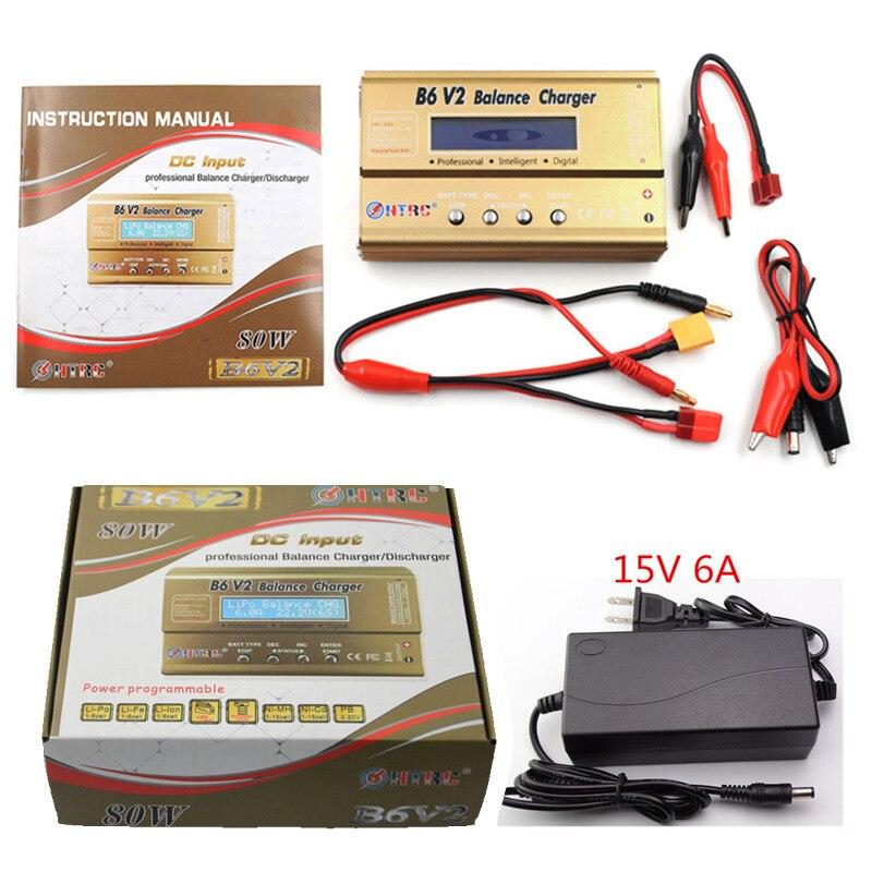 HTRC batería Lipro balanaza cargador iMAX B6 V2 cargador Imax b6 fuente de alimentación Lipro Digital cargador de equilibrio + 15 V 6A adaptador de corriente