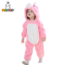 MICHLEY Baby Rompers Cute Rabbit Unisex Newborn Cosplay Pajamas Autumn And Winter Warm Clothes 2019 New Casual Creative Clothing