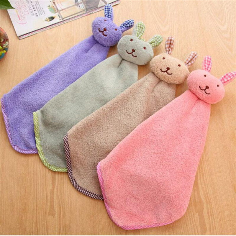 Baby Hand Towel Cartoon Animal Rabbit Plush Kitchen Soft Hanging Bath Wipe x00328