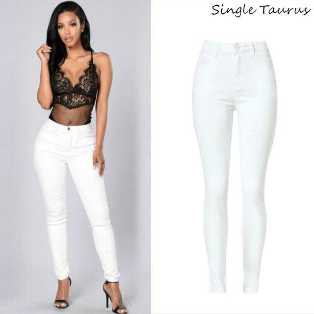 A Vita alta Jeans Delle Donne di Modo Bianco Dei Jeans Elastici Feminina Push Up Sexy Skinny Jeans Delle Donne di Alta Qualità Dei Jeans Pantalon Femme