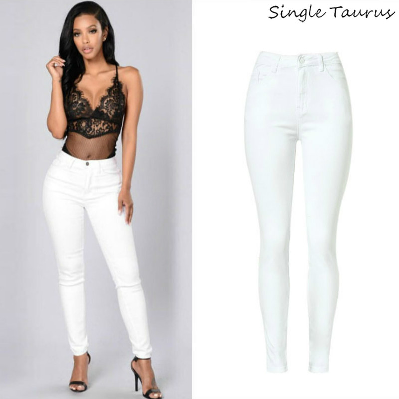 High Waist Women   Jeans   Fashion White Elastic   Jeans   Feminina Push Up Sexy Skinny   Jeans   Women High Quality   Jeans   Pantalon Femme