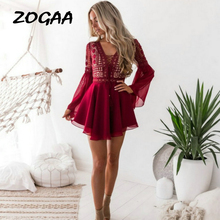Sexy Red Dress Lace Crochet Women Mini Chiffon Black Criss Cross Semi-sheer Plunge V-Neck Long Sleeve Dresses