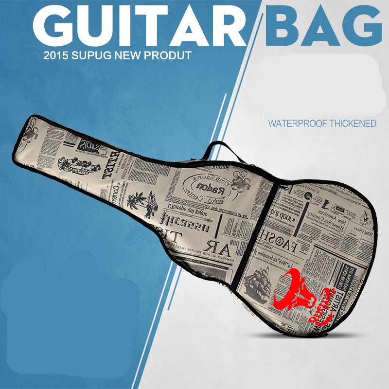 Waterproof  Thicken Leather  Newspaper 38 40 41 Steel-String Classical Guitar Bag Case Backpack Guitarra Bass Parts Carry Gig 12mm waterproof soprano concert ukulele bag case backpack 23 24 26 inch ukelele beige mini guitar accessories gig pu leather