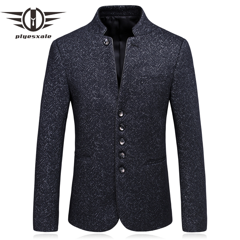 Plyesxale Chinese Collar Blazers For Men Slim Fit Mens Wool Blazers Vintage Single Breasted ...