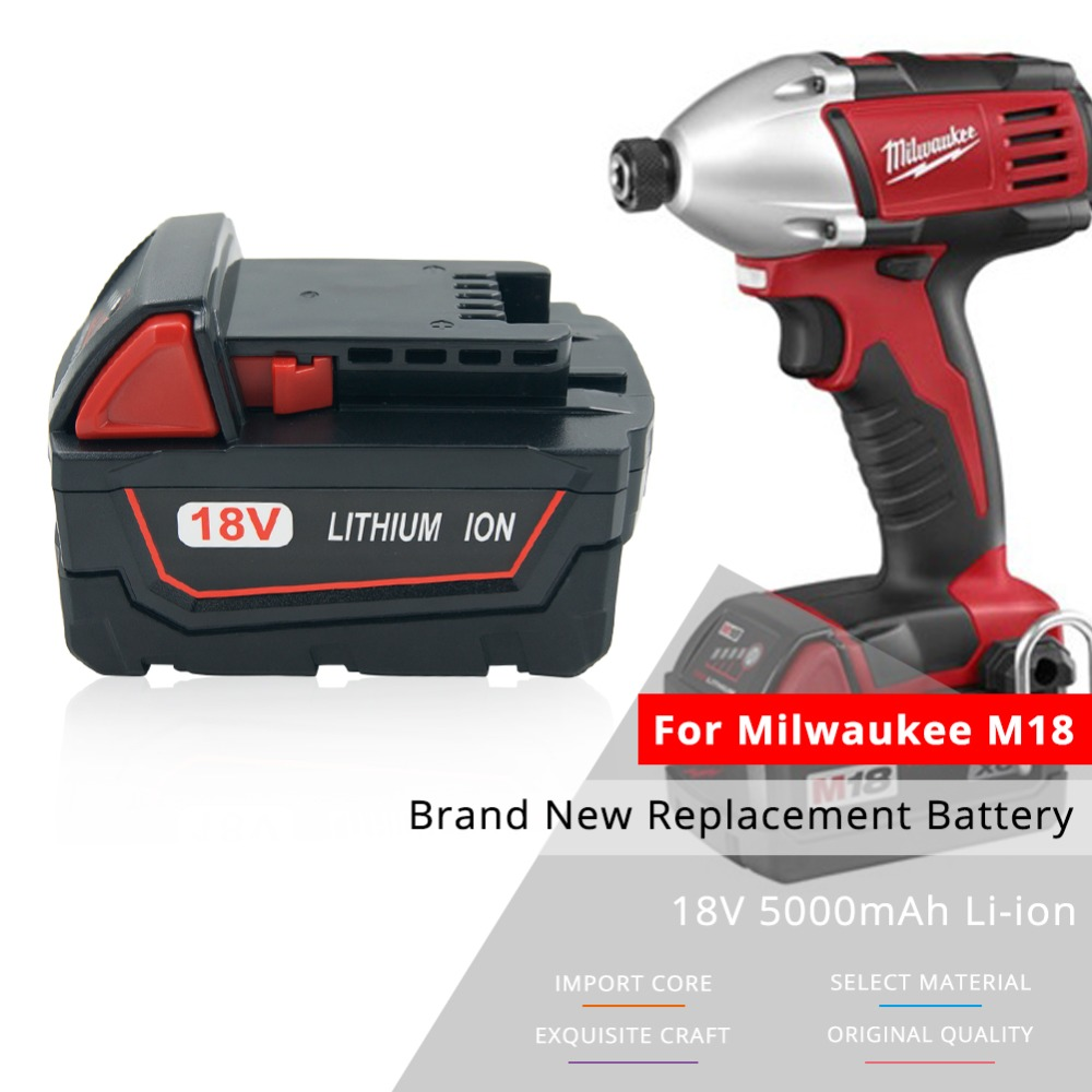 18V 5.0Ah Lithium Power Tool Battery for Milwaukee M18 XC 48-11-1850 48-11-1852 48-59-1850,M18 XC, C18B,Li18 m18 electric drill accessories lithium ion battery 18v 4000mah for milwaukee m18 48 11 1828 48 11 1840 18v 4 0ah 72wh battery