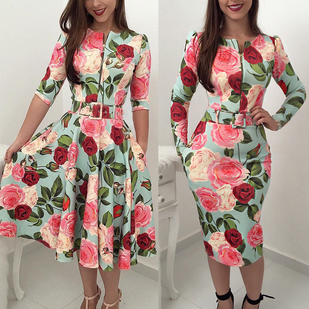 Fashion Women Dress Floral O Neck Long Sleeve High Waist Zipper Dress Sexy Ladies  Party Clubwear Femme Clothes Autumn