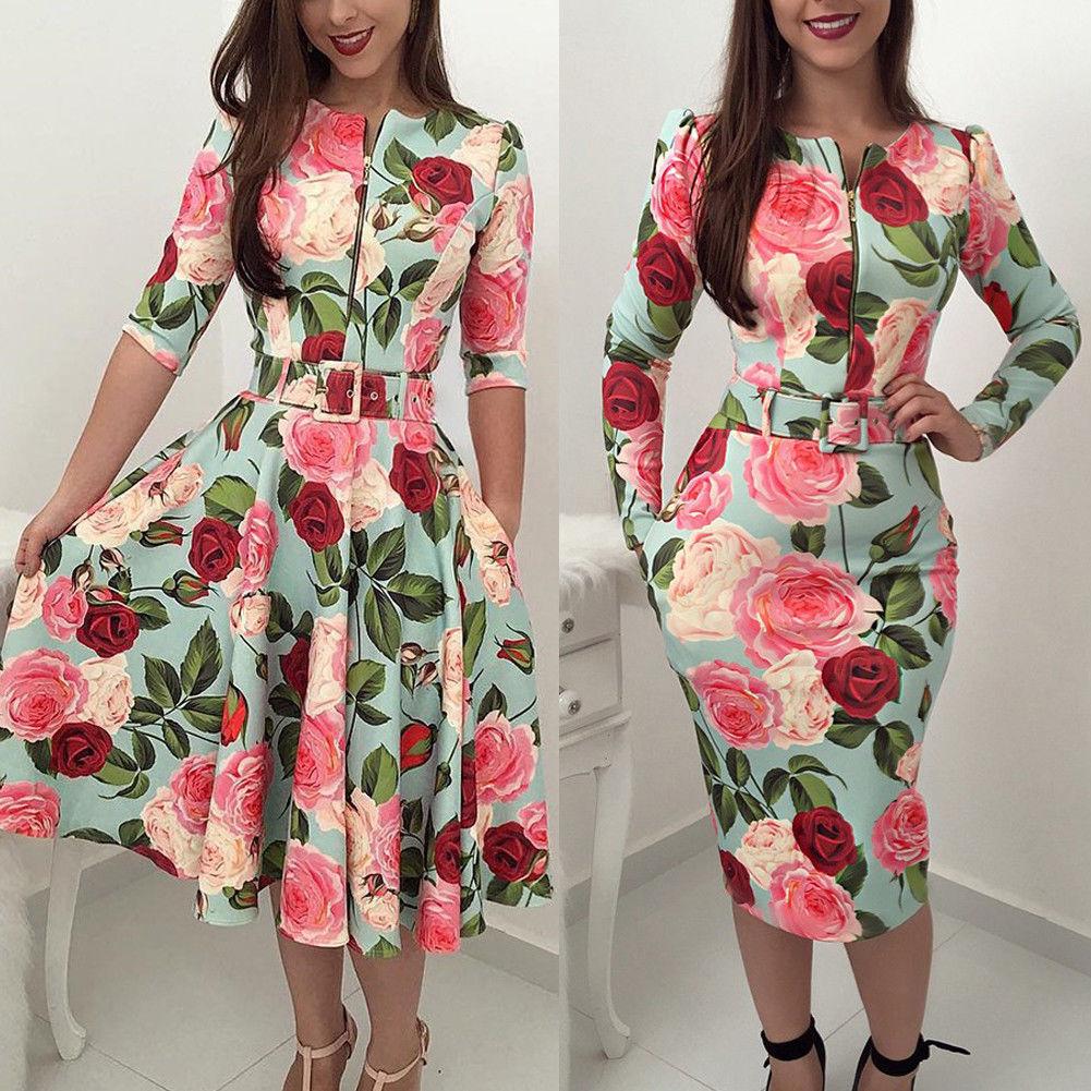 Fashion Women Dress Floral O Neck Long Sleeve High Waist Zipper Dress Sexy Ladies  Party Clubwear Femme Clothes Autumn