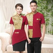 New Style 3 Color Summer Hotel Restaurant Waiter Uniform Short Sleeve Uniforms for Women and Men